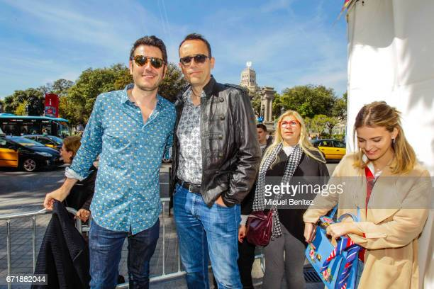 Carlos del Amor Risto Mejide and Laura Escanes pose during 'Sant Jordi's Day' 'Saint George's Day' at Plaa Catalunya on April 23 2017 in Barcelona...