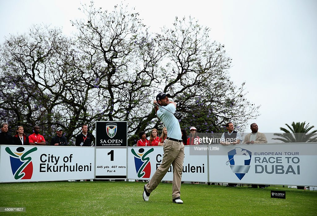 Carlos Del Moral of Spain tees off on the first hole to start the 2014 Race To Dubai during the first round of the South African Open Championship at Glendower Golf Club on November 21, 2013 in Johannesburg, South Africa.