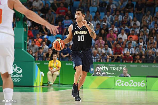 Carlos Delfino of Argentina handles the ball against Spain on Day 10 of the Rio 2016 Olympic Games at Carioca Arena 1 on August 15 2016 in Rio de...