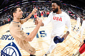Carlos Delfino of Argentina shakes hands with DeAndre Jordan of the USA Basketball Men's National Team before the game on July 22 2016 at the TMobile...