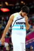 Carlos Delfino of Argentina shows his emotion after losing the Men's Basketball bronze medal game between Russia and Argentina on Day 16 of the...
