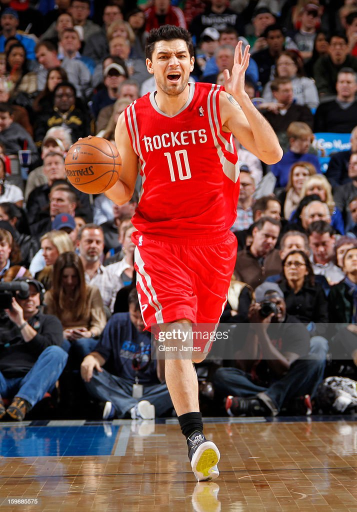 Carlos Delfino #10 of the Houston Rockets brings the ball up court against the Dallas Mavericks on January 16, 2013 at the American Airlines Center in Dallas, Texas.