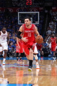 Carlos Delfino of the Houston Rockets brings the ball up court against the Oklahoma City Thunder in Game Two of the Western Conference Quarter Finals...