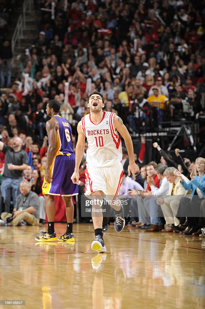 Carlos Delfino #10 of the Houston Rockets celebrates during the game against the Los Angeles Lakers on January 8, 2013 at the Toyota Center in Houston, Texas.