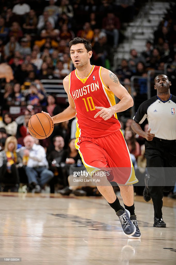 Carlos Delfino #10 of the Houston Rockets drives against the Cleveland Cavaliers at The Quicken Loans Arena on January 5, 2013 in Cleveland, Ohio.