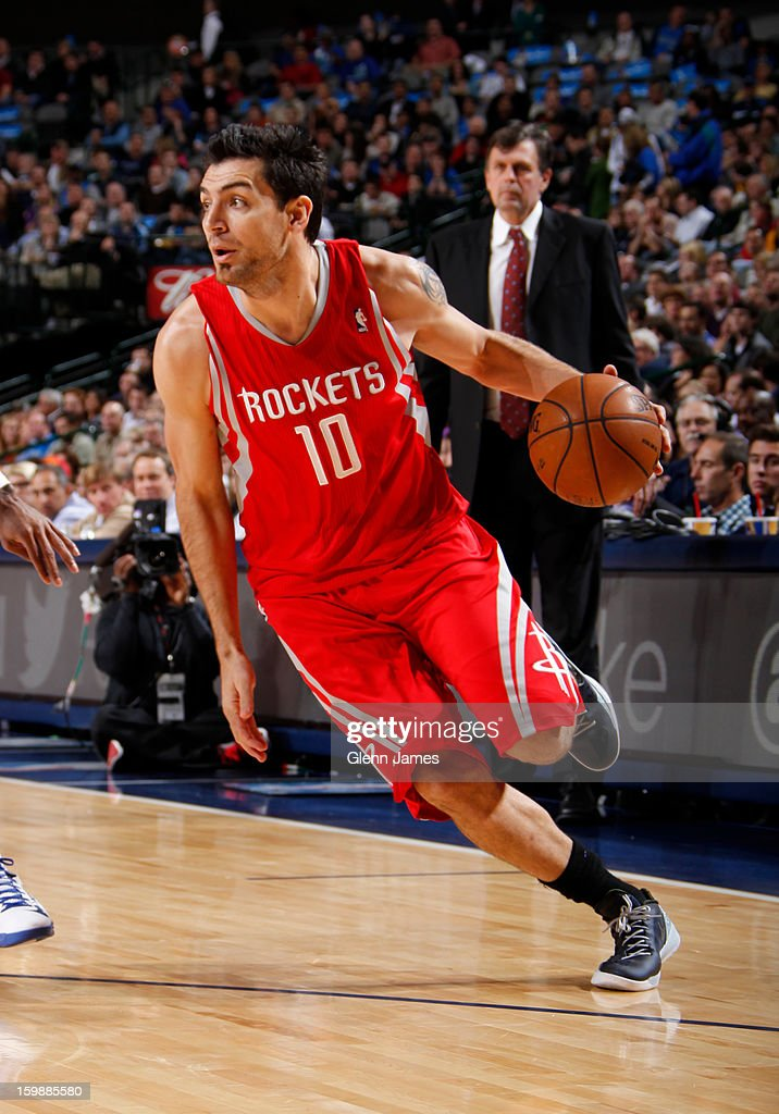 Carlos Delfino #10 of the Houston Rockets drives to the basket against the Dallas Mavericks on January 16, 2013 at the American Airlines Center in Dallas, Texas.