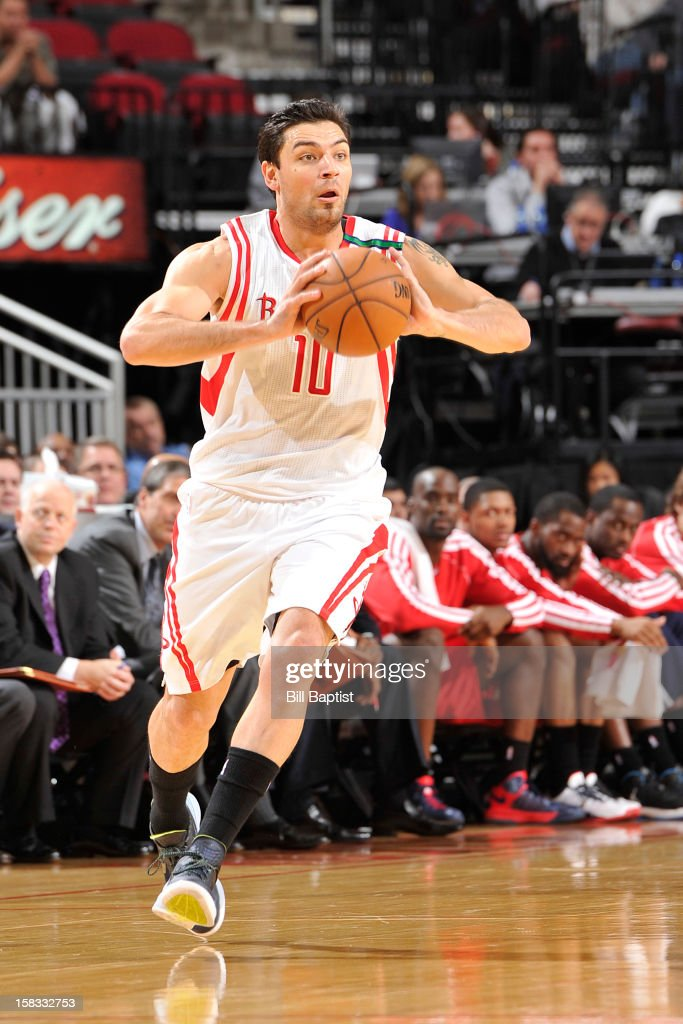 Carlos Delfino #10 of the Houston Rockets handles the ball against the Washington Wizards on December 12, 2012 at the Toyota Center in Houston, Texas.