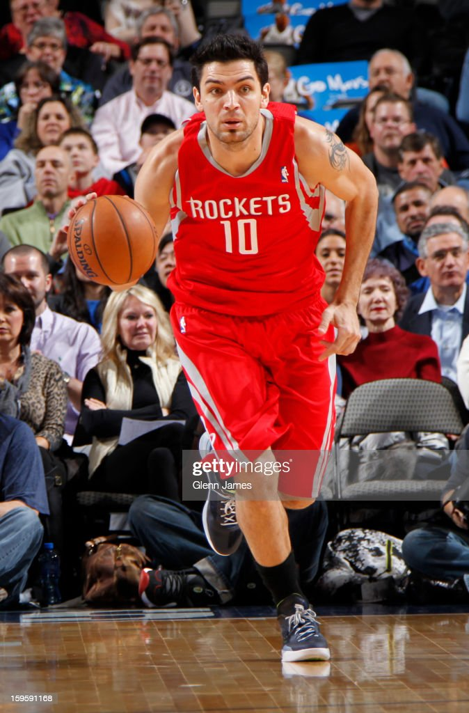 Carlos Delfino #10 of the Houston Rockets handles the ball against the Dallas Mavericks on January 16, 2013 at the American Airlines Center in Dallas, Texas.