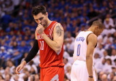 Carlos Delfino of the Houston Rockets reacts after a turnover during Game Two of the Western Conference Quarterfinals of the 2013 NBA Playoffs...