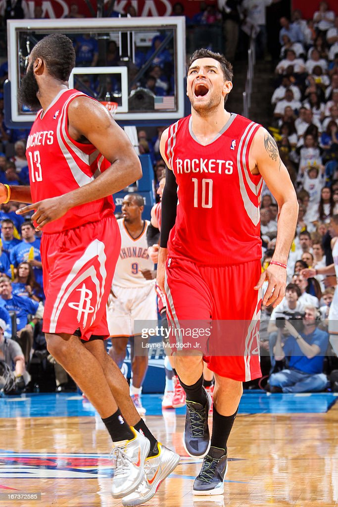 Carlos Delfino #10 of the Houston Rockets reacts while playing the Oklahoma City Thunder in Game Two of the Western Conference Quarterfinals during the 2013 NBA Playoffs on April 24, 2013 at the Chesapeake Energy Arena in Oklahoma City, Oklahoma.