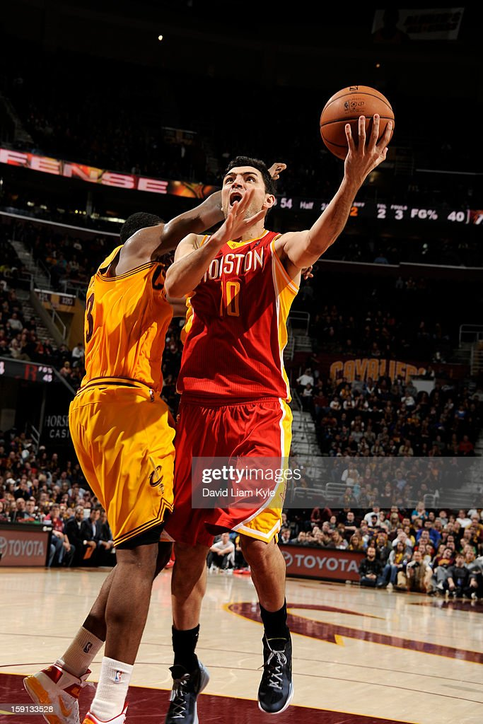 Carlos Delfino #10 of the Houston Rockets shoots against the Cleveland Cavaliers at The Quicken Loans Arena on January 5, 2013 in Cleveland, Ohio.