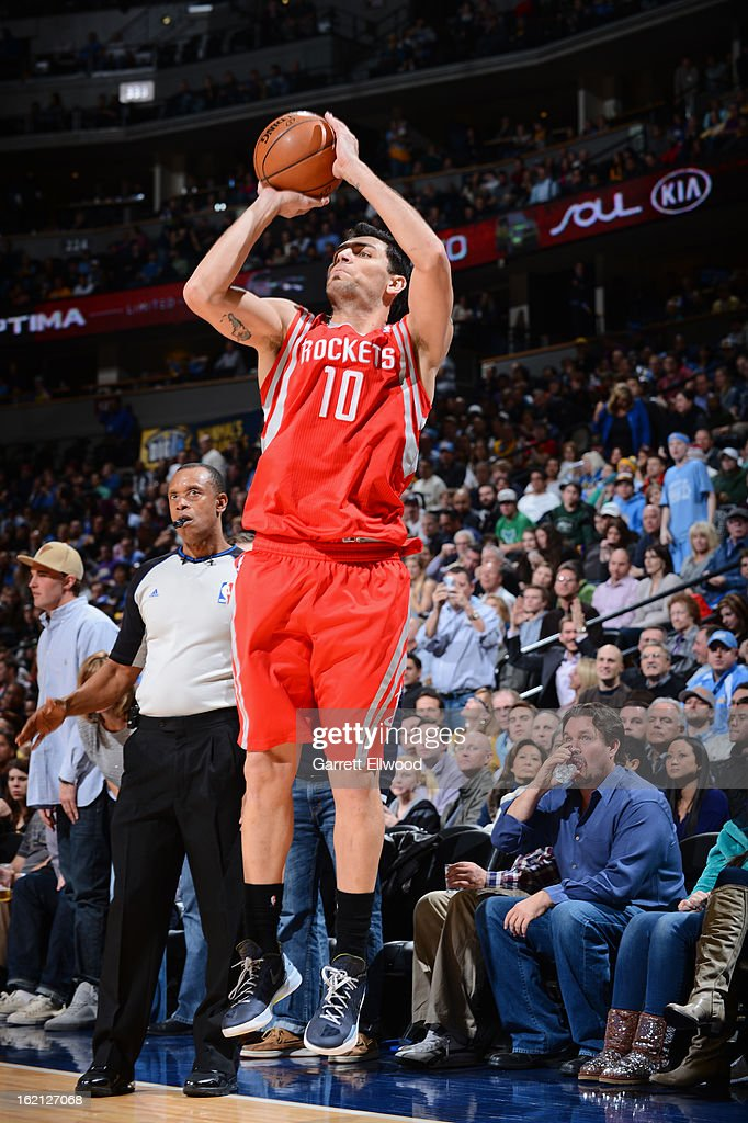 <a gi-track='captionPersonalityLinkClicked' href=/galleries/search?phrase=Carlos+Delfino&family=editorial&specificpeople=206625 ng-click='$event.stopPropagation()'>Carlos Delfino</a> #10 of the Houston Rockets shoots against the Denver Nuggets on January 30, 2013 at the Pepsi Center in Denver, Colorado.