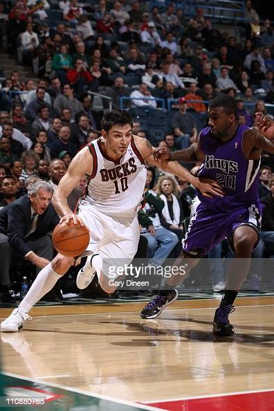 Carlos Delfino of the Milwakee Bucks moves the ball against the Sacramento Kings on on March 23 2011 at the Bradley Center in Milwaukee Wisconsin...