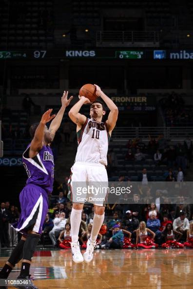 Carlos Delfino of the Milwakee Bucks shoots the ball against the Sacramento Kings on on March 23 2011 at the Bradley Center in Milwaukee Wisconsin...