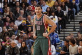 Carlos Delfino of the Milwaukee Bucks enters the game against the Golden State Warriors on March 16 2012 at Oracle Arena in Oakland California NOTE...