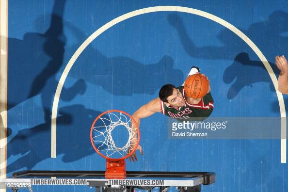 Carlos Delfino of the Milwaukee Bucks goes to the basket during the game against the Minnesota Timberwolves on October 29 2010 at Target Center in...