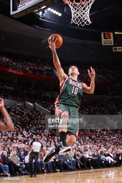 Carlos Delfino of the Milwaukee Bucks goes to the basket during the game against the Portland Trail Blazers on March 20 2012 at the Rose Garden Arena...