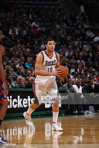 Carlos Delfino of the Milwaukee Bucks handles the ball against th New York Knicks on April 11 2012 at the Bradley Center in Milwaukee Wisconsin NOTE...