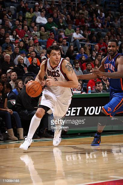 Carlos Delfino of the Milwaukee Bucks handles the ball during the game against the New York Knicks on March 20 2011 at the Bradley Center in...