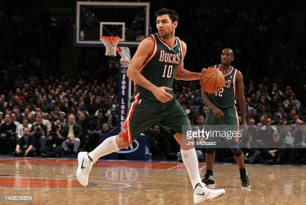 Carlos Delfino of the Milwaukee Bucks in action against the New York Knicks on January 20 2012 at Madison Square Garden in New York City The Bucks...