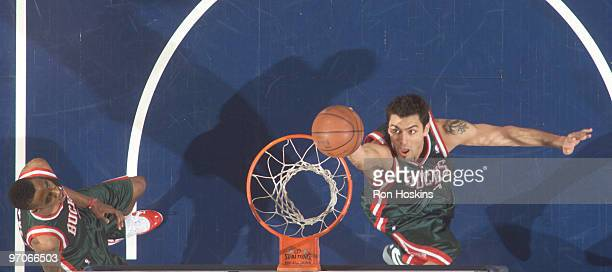 Carlos Delfino of the Milwaukee Bucks scores against the Indiana Pacers at Conseco Fieldhouse on February 25 2010 in Indianapolis Indiana NOTE TO...