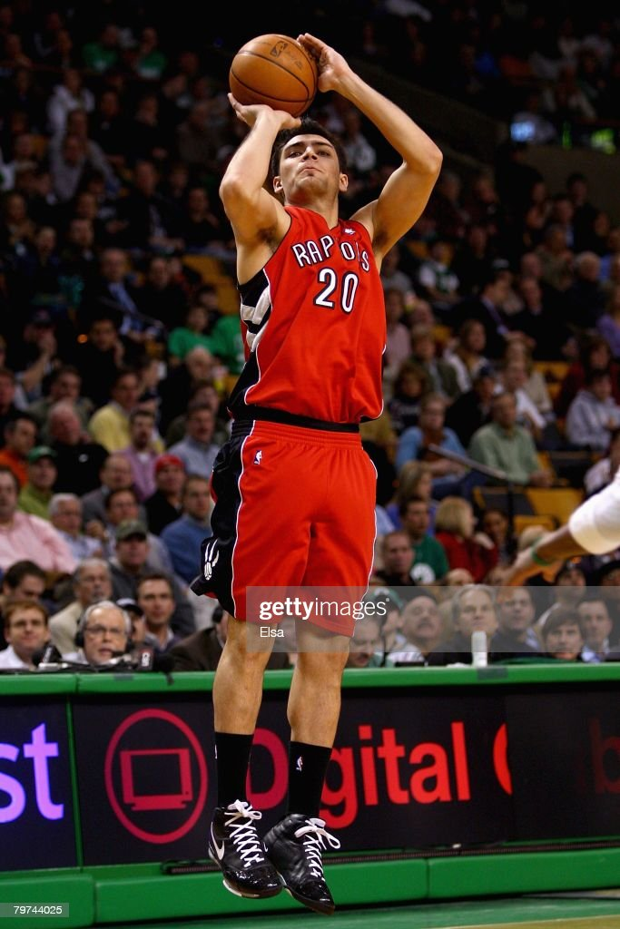 Carlos Delfino #20 of the Toronto Raptors shoots during the game against the Boston Celtics on January 23, 2008 at the TD Banknorth Garden in Boston, Massachusetts. The Raptors won 114-112.