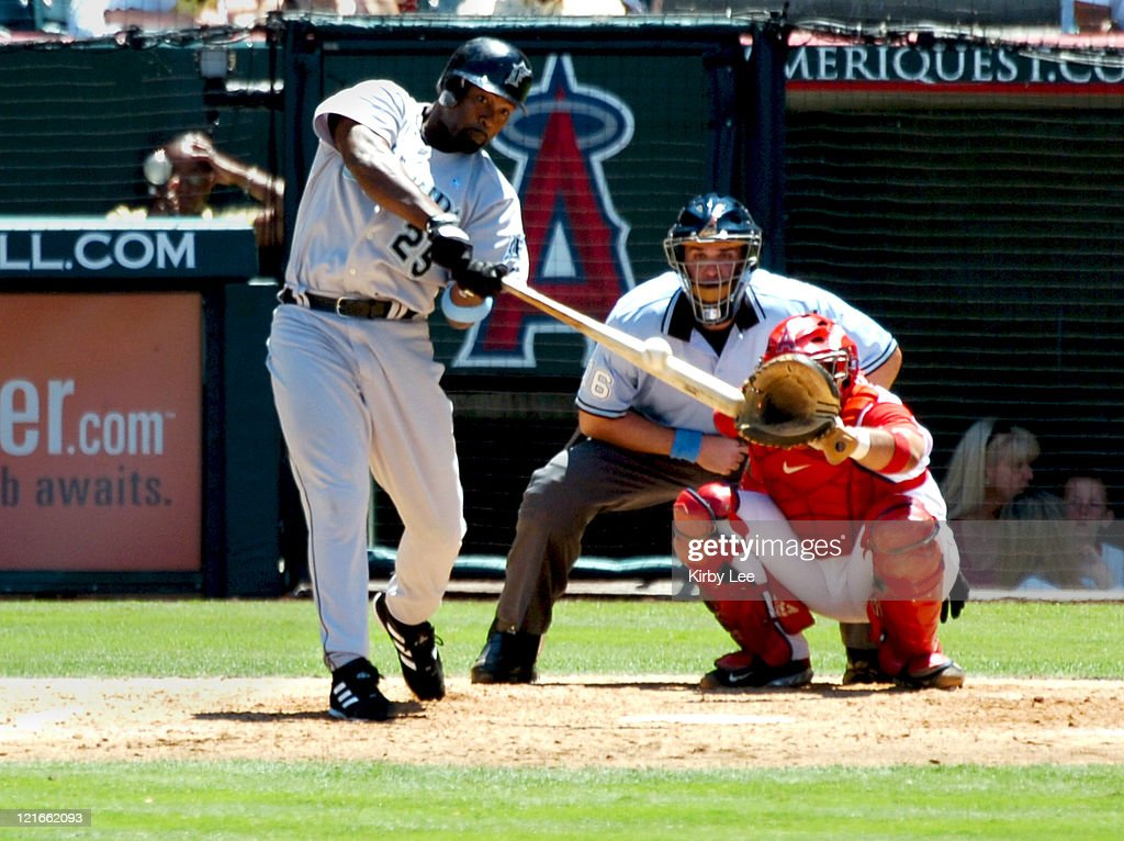 Carlos Delgado of the Florida Marlins bats during 7-5 victory over the Los Angeles Angels of Anaheim at Angel Stadium in Anaheim, California on Sunday, June 19, 2005.