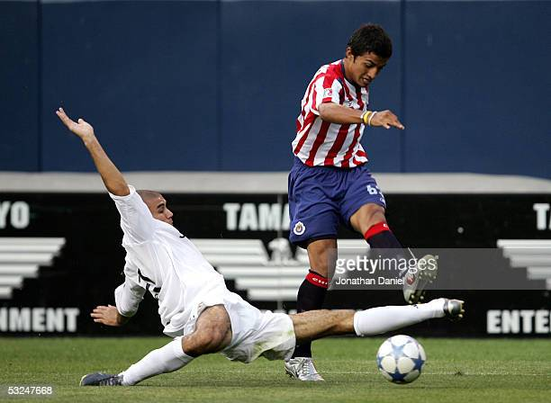 Carlos Diogo of Real Madrid makes a diving attempt to block a shot by Max Perez of Chivas De Guadalajara during a friendly on July 16 2005 at Soldier...