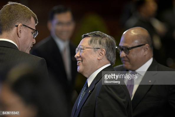 Carlos Dominguez the Philippines' secretary of finance center attends the Asian Development Bank 50th Anniversary reception in Manila the Philippines...
