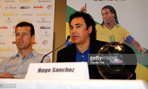 Carlos Dunga and Hugo Sanchez during Golden Foot Awards Press Conference at Fairmont Hotel on October 11 2010 in Monaco Monaco