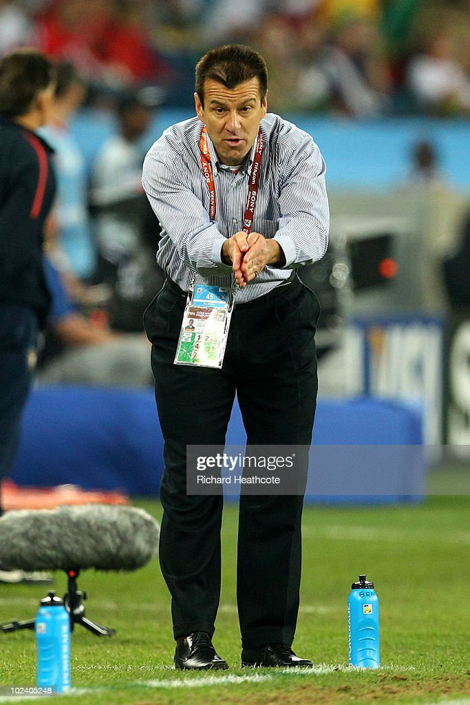 Carlos Dunga head coach of Brazil gestures on the touchline during to the 2010 FIFA World Cup South Africa Group G match between Portugal and Brazil...