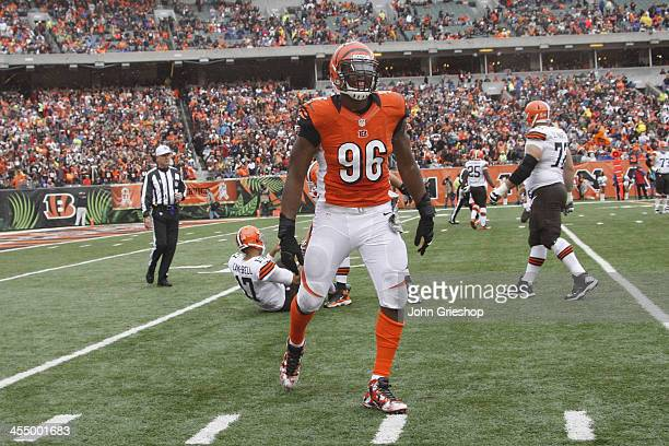 Carlos Dunlap of the Cincinnati Bengals celebrates a play during game against the Cleveland Browns at Paul Brown Stadium on November 17 2013 in...