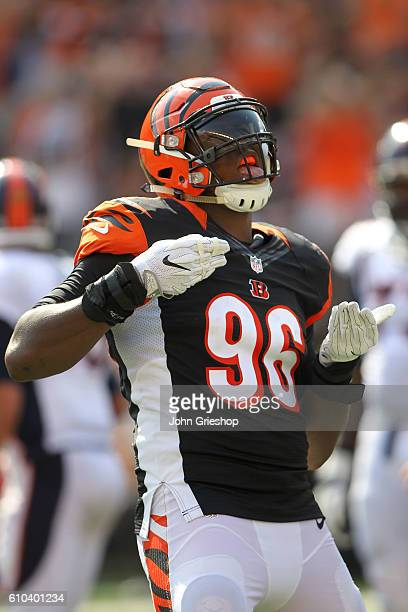 Carlos Dunlap of the Cincinnati Bengals celebrates after sacking Trevor Siemian of the Denver Broncos during the third quarter at Paul Brown Stadium...