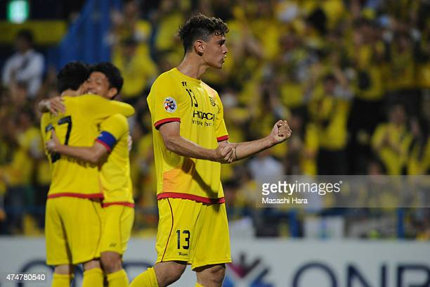 Carlos Eduardo Bendei of Kashiwa Reysol celebrates the to next round after the AFC Champions League Round of 16 match between Kashiwa Reysol and...