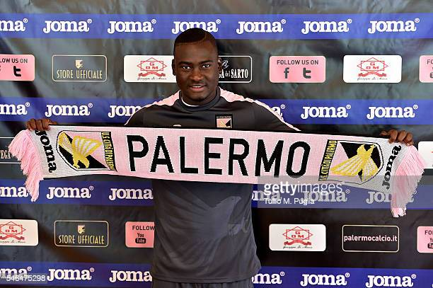 Carlos Embalo poses during a press conference at Sport Arena US Citta' di Palermo training camp base on July 12 2016 in Bad Kleinkirchheim Austria