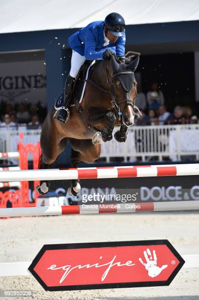 Carlos Enrique Lopez Lizarazo of Colombia riding Cuplandra during the Longines Grand Prix Athina Onassis Horse Show on June 3 2017 in St Tropez France