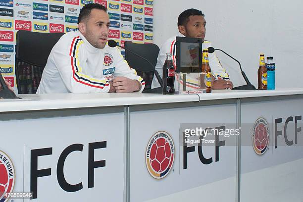 Carlos Enrique Valdes and David Ospina Colombia talks during a press conference at San Carlos de Apoquindo Stadium on June 12 2015 in Santiago Chile...