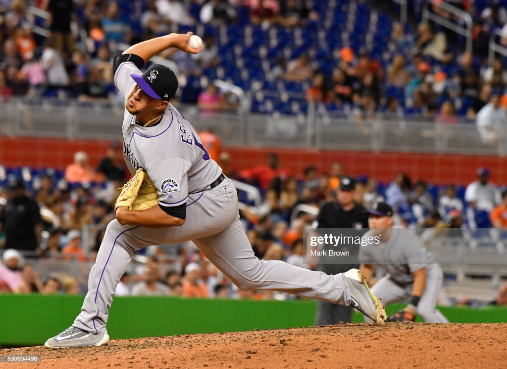 Carlos Estevez #54 of the Colorado Rockies pitches in the seventh inning during the game between the Miami Marlins and the Colorado Rockies at Marlins Park on August 12, 2017 in Miami, Florida.