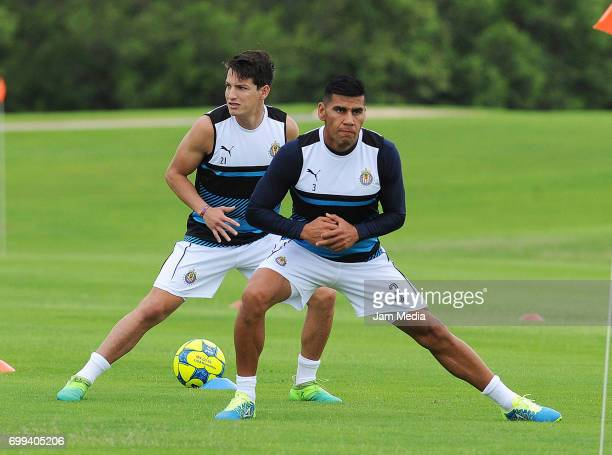 Carlos Fierro and Carlos Salcido warm up during the Pre Season training for the Torneo Apertura 2017 Liga MX at Hotel Moon Palace on June 21 2017 in...