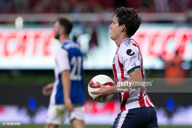 Carlos Fierro of Chivas celebrates after scoring the tying goal during the friendly match between Chivas and Porto at Chivas Stadium on July 19 2017...