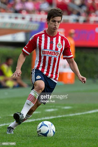 Carlos Fierro of Chivas drives the ball during a 9th round match between Chivas and Queretaro as part of the Apertura 2015 Liga MX at Omnilife...