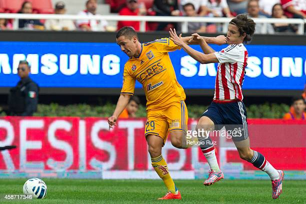 Carlos Fierro of Chivas fights for the ball with Jesus Dueñas of Tigres during a match between Chivas and Tigres UANL as part of 16th round Apertura...