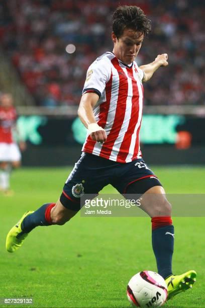 Carlos Fierro of Chivas kicks the ball during the third round match between Chivas and Necaxa as part of the Torneo Apertura 2017 Liga MX at Chivas...