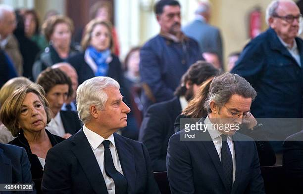 Carlos FitzJames Stuart and Martinez de Irujo attend a mass at noon on the first anniversary of the death of the Duchess of Alba Cayetana FtizJames...