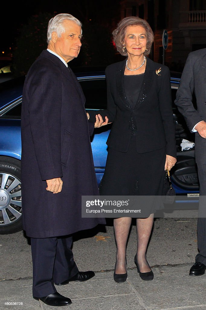 Carlos FitzJames Suart and Queen Sofia attend memorial service for Duchess of Alba on December 15 2014 in Madrid Spain