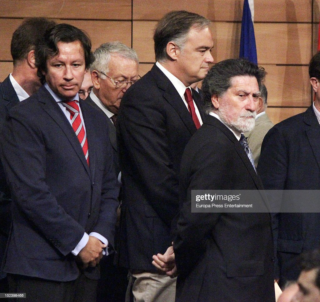 Carlos Floriano and Esteban Gonzalez Pons attend the funeral for former Communist Party leader Santiago Carrillo September 19 2012 in Madrid Spain...