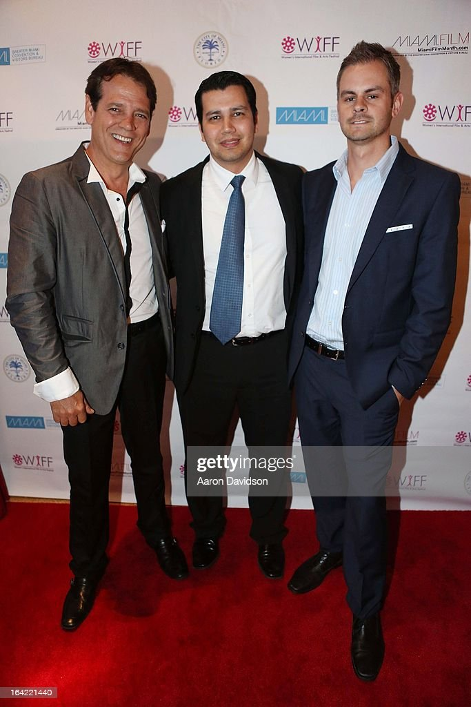 Carlos Garin, Jose Yacaman and Justin Shane attends opening night screening of 'Free Angela' during the 2013 Women's International Film and Arts Festival at Adrienne Arsht Center on March 20, 2013 in Miami, Florida.