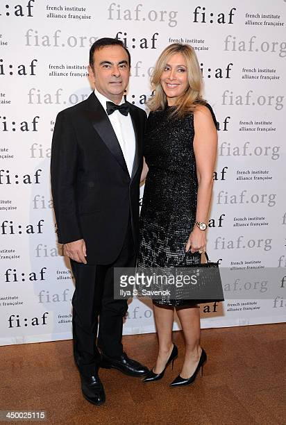 Carlos Ghosn and Carole Nahas attends the 2013 Trophee des Arts gala at 583 Park Avenue on November 15 2013 in New York City