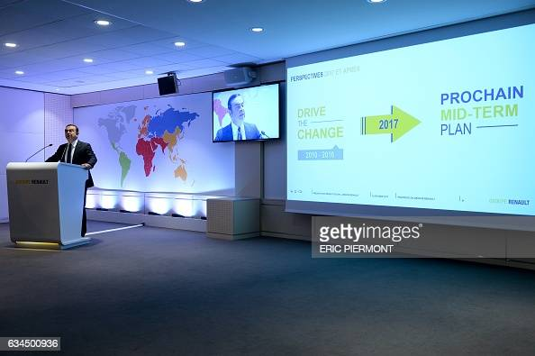 Carlos Ghosn CEO of French automaker Renault speaks during the presentation of the group's 2016 results at the group's headquarters in...