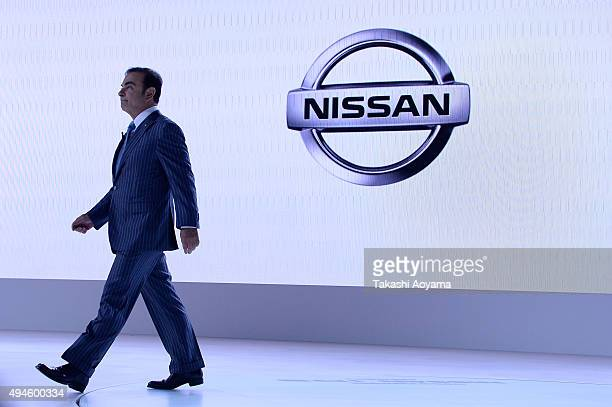 Carlos Ghosn CEO of Nissan attends the media preview ahead of The 44th Tokyo Motor Show 2015 at Tokyo Big Sight on October 28 2015 in Tokyo Japan The...